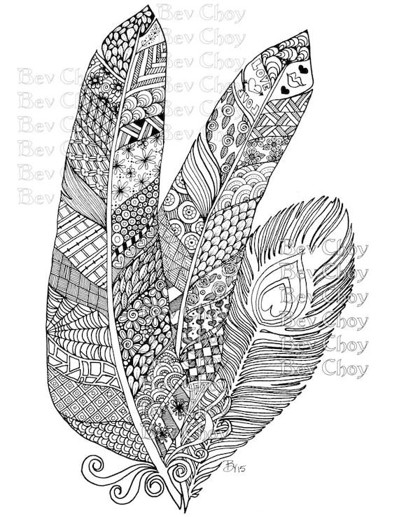 Página para colorear de adultos de tres plumas de libro 2   Etsy