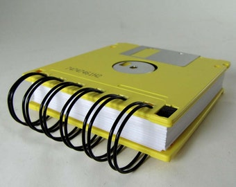 Floppy Disk Notebook JUMBO Yellow Computer Disk Recycled Geek Gear Blank Mini 125 sheets