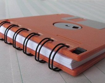 Orange Recycled Geek Gear Blank Floppy Disk Mini Notebook