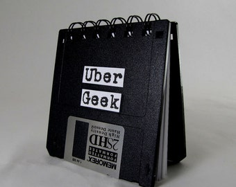 JUMBO Recycled Uber Geek Gear Blank Floppy Disk Mini Notebook in Black