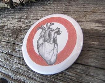 Anatomical Heart Pin Back Button - 2 1/4 Inch