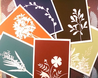 Fall floral silhouette cards