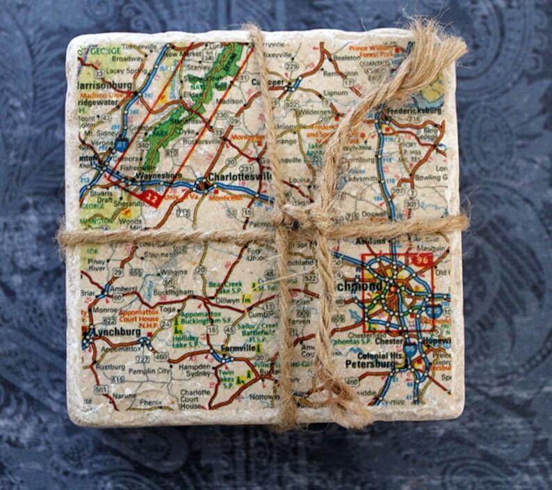 Marble coasters  Charlottesville/Richmond Map image 0