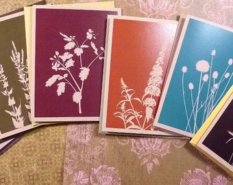 Fall floral silhouette on kraft cards