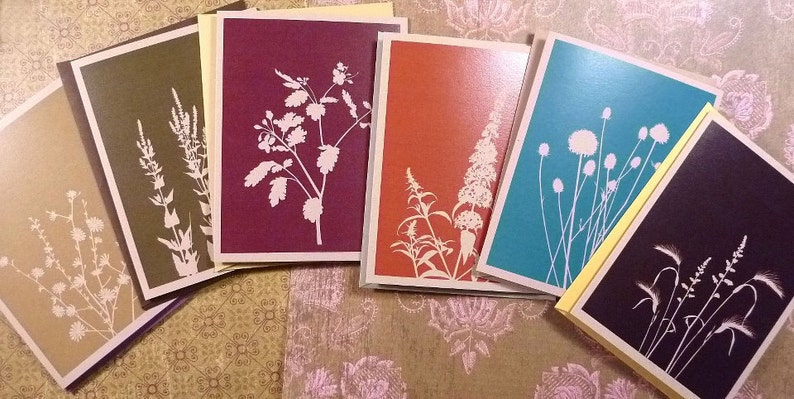 Fall floral silhouette on kraft cards image 0