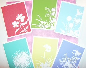 Spring floral silhouette cards