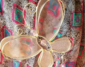 Glass Butterfly Sun Catcher Lavender Purple Beads Vintage Glass Prisms