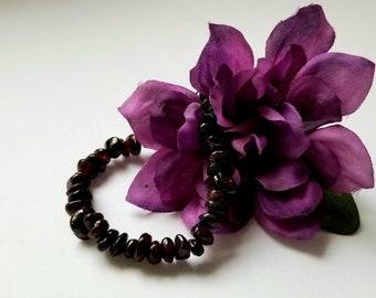 Red GARNET Natural Gemstone Stone Stretchy Polished Chip Bracelet