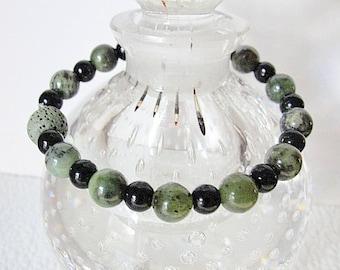 Aromatherapy Green Jade Gemstone Bracelet--Black Glass -Green LAVA Stone Bead-Gift Box