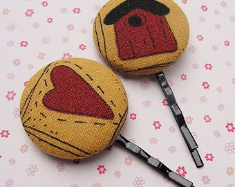 FABRIC Covered Bobbi Pin--Hair Clips--COUNTRY Hair Deco--Hearts--Birdhouse--