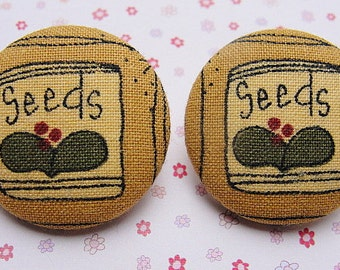 FABRIC Covered Earrings-Button Earrings--COUNTRY Style--SEED Packets --Hypo Allergenic Posts n Studs--Gifts For Her--Trendy