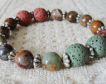 AROMATHERAPY Beaded Diffuser LAVA Rock -AFRICAN Jade Opal Beads