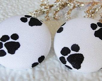 FABRIC Covered PAWPrint Earrings--Black On White--1-1/8=28mm- Pet Lovers Earrings