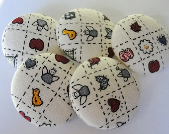 """FABRIC Covered Country BUTTONS--28mm--1-1/8""""--SEW On--Crafts--ScrapBooking--Vintage Fabric-Five (5)"""
