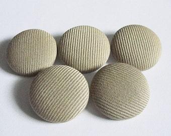 "Fabric Buttons--Handmade--Beige Textured--28mm--1-1/8""--ScrapBooking--Crafts--Upholstering-"
