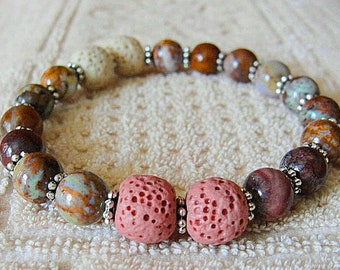 AROMATHERAPY Beaded Diffuser  LAVA Rock -African Jaded Opal Beads