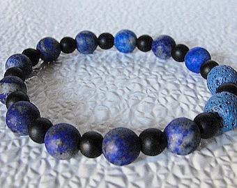 Aromatherapy Gemstone Bracelet-Lapis Blue Denim Beads-Matte Black Glass-Stretchy