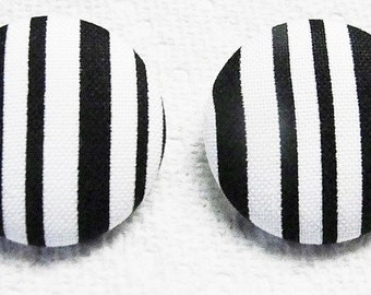 """Fabric Covered STRIPPED Black n White- Post EARRINGS--Light Weight-28mm-1-1/8""""-Trendy-Fun"""