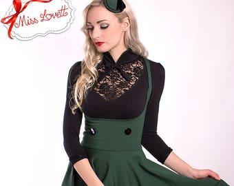 VERONIQUE_07 Rockabilly Cut-Out Circle Skirt Overdress Dark Green