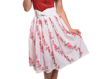 ABIGAIL_06 Ruffled Waist Skirt RED FLOWERS