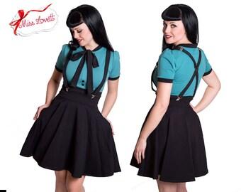 LOUANE_01 Suspender Pocket Circle Skirt BLACK
