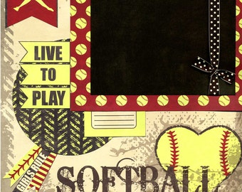 Softball - Live To Play - Premade Scrapbook Page