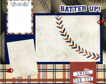 Batter Up - Let's Play Ball - Premade Baseball Scrapbook Page
