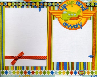 12x12 Premade Scrapbook Page - Up Up and Away