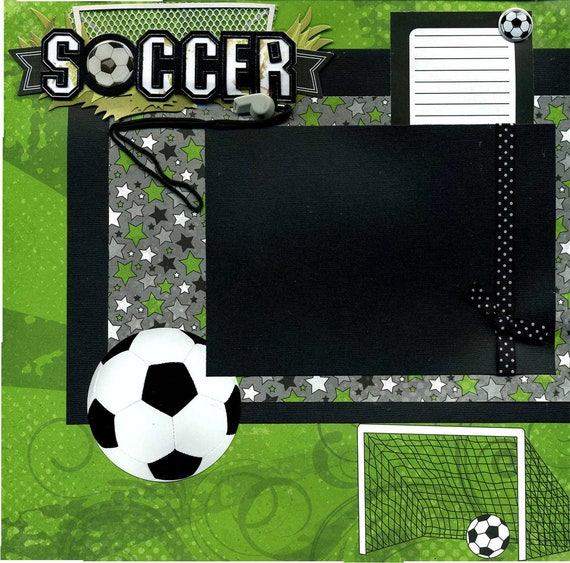 Soccer Layout Page Soccer Premade 12x12 Single Page Scrapbook Layout Soccer Player Page Soccer Scrapbook Album Page