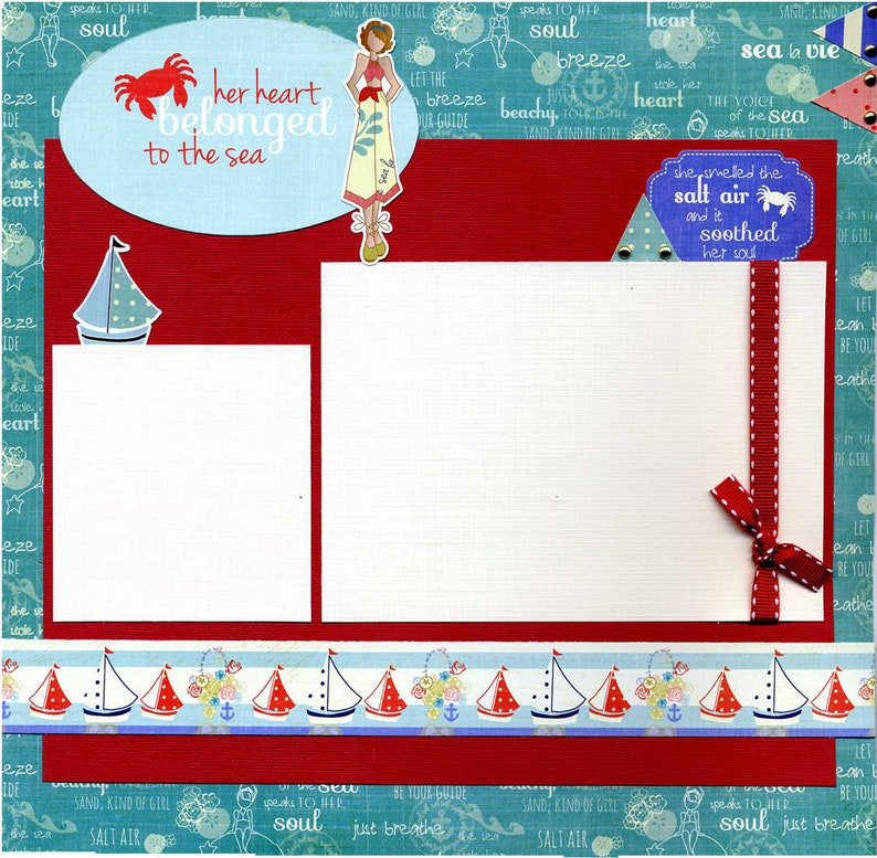 Her Heart Belonged to the Sea Premade Scrapbook Page