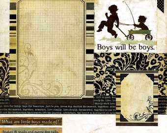 Boys Will Be Boys - 12x12 Premade Scrapbook Page