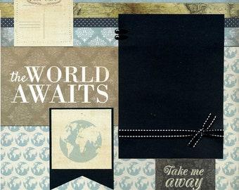 The World Awaits- 12x12 Premade Scrapbook Page