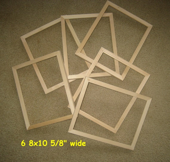 Unfinished Wood Picture Frames Lot Of 6 8x10 8x8 Etc Etsy