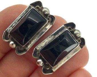 Vintage Mexican Sterling Black Onyx Screw Back Earrings,  Mid Century Mexico Silver Earrings, Gift for Her, Gift for Collector, Classic Cool