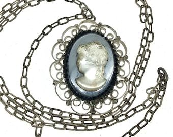 Vintage Mid Century Filigree Frosted Glass Cameo Necklace, Gift for Her, Gift for Collector, Black White Cameo, Layering Necklace, Boho Cute