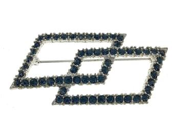 Vintage Ledo Dark Blue Rhinestone Brooch, Rare Ledo Art Deco Design Brooch, Gift for Her, Gift for Collector, Textured Silver Brooch, Cool