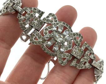 Vintage Art Deco Rhinestone Link Bracelet, Perfect for Wedding, Gift for Collector