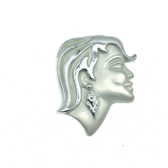 Mullet Hair Girl, Vintage 1980s Silver Finish Broo
