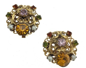 Vintage GERMANY Multicolor Rhinestone Pearl Filigree Clip Earrings, Gift for Her, Gift for Collector, 1940s Earrings, Gold Filigree Clips