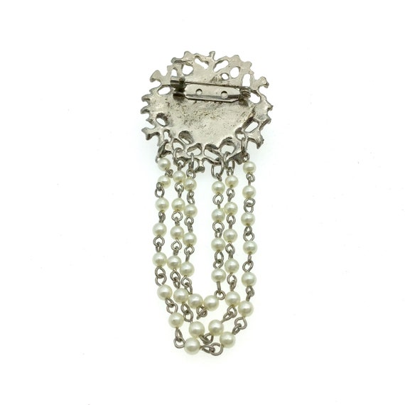 Vintage Silver Pearl Chain Wedding Brooch, Elegan… - image 3