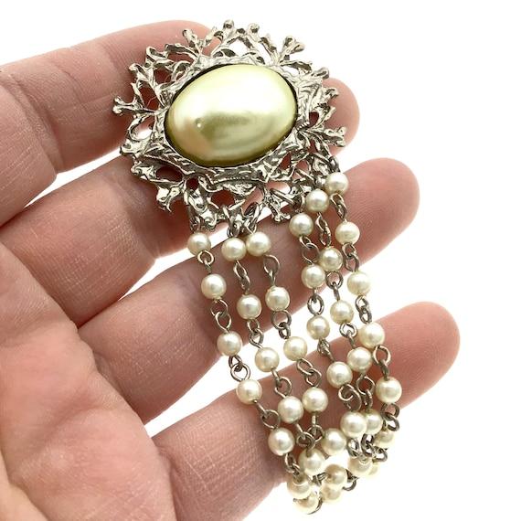 Vintage Silver Pearl Chain Wedding Brooch, Elegan… - image 1
