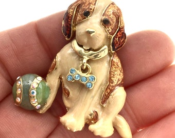 ADORABLE Vintage Signed Kenneth Cole Enameled Dog with Ball Rhinestone Brooch, Cute Dog Pin, Gift for Her, Gift for Collector,
