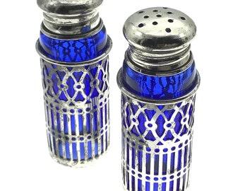 Cute Mid Century Japanese Cobalt Silverplate Salt/Pepper Shakers, Gift for Collector, Filigree Salt Pepper Shaker Set, Glass, Funky Vintage