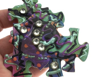 Vintage Jigsaw Brooch, Autism Awareness, Puzzle Brooch, Statement Brooch, 1980s Rhinestone Brooch, Funky Brooch, Gift for Her, Boho Style