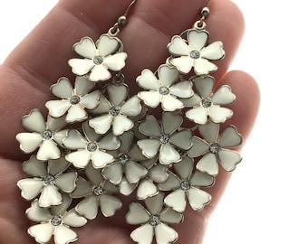 Fun Boho Vintage White Enamel & Rhinestone Flower Dangle Earrings, Gold White Earrings, Wedding Earrings, Free Spirit Earrings, Statement