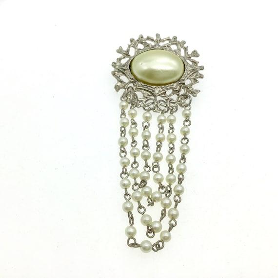 Vintage Silver Pearl Chain Wedding Brooch, Elegan… - image 2