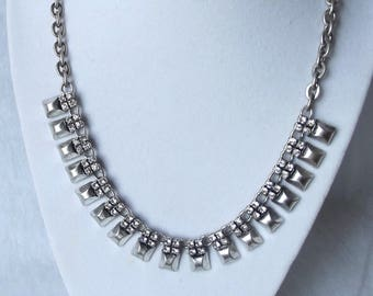 Yosca Choker Necklace Modernist Silver Metal Rhinestone Crystal Runway Statement Necklace