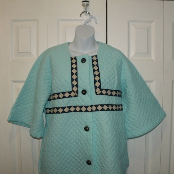 Vintage Blue Quilted Housecoat Dressing Gown Butto