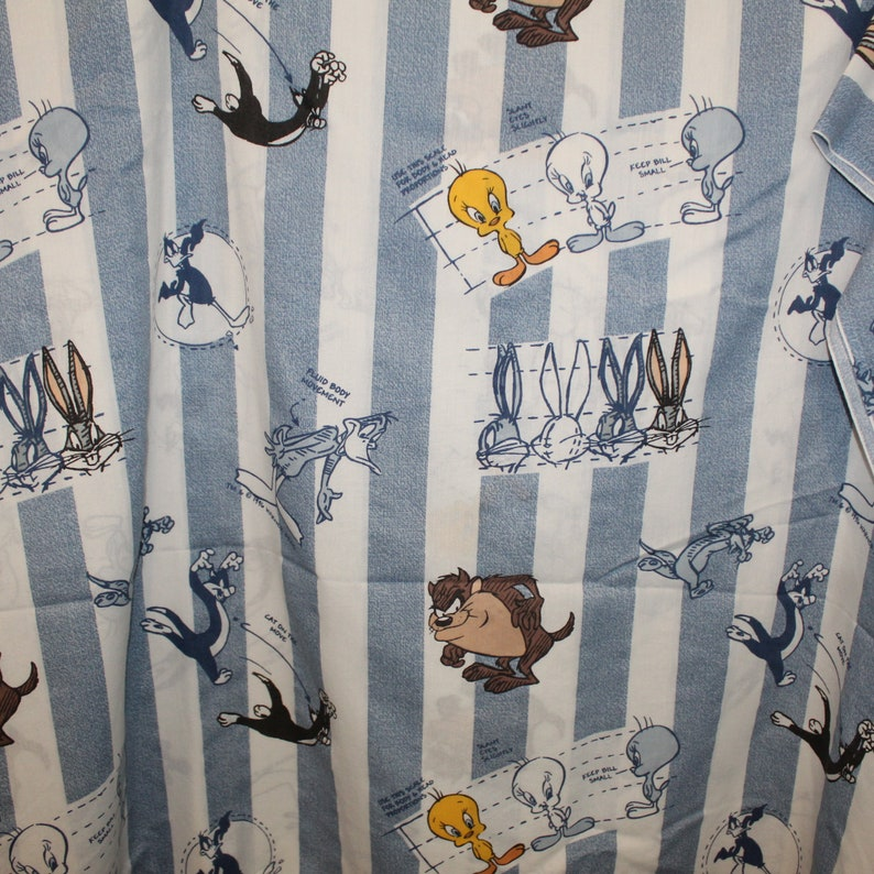 Vintage Looney Tunes Twin Flat Sheet Character Sketch Directions Tweety Taz Bugs