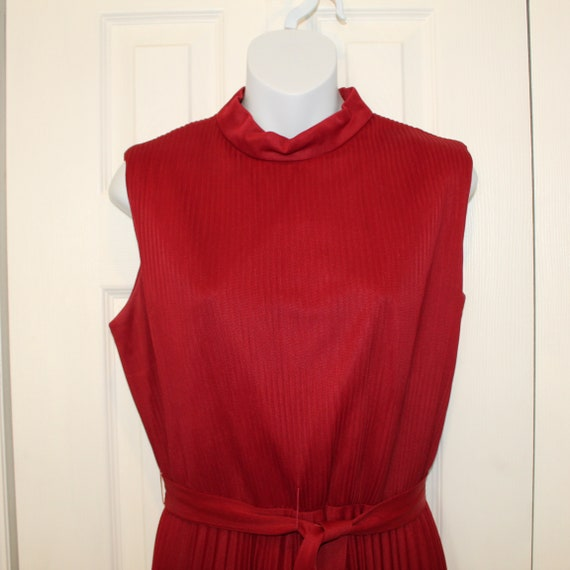 Vintage 1960s  Red Pleated Skirt Hand Made Dress